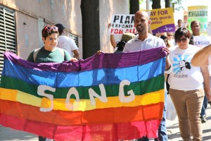 SONG marches in Atlanta to stop LGBTQ deportations. Photo courtesy of Angela Hill