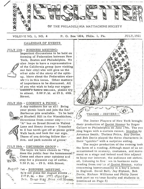 Mattachine Newsletter July 1961