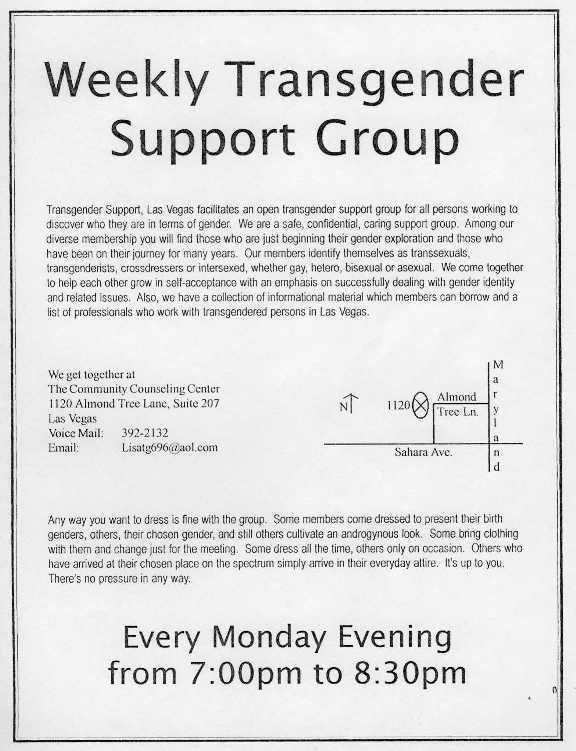 Transgender Support Group, 1998