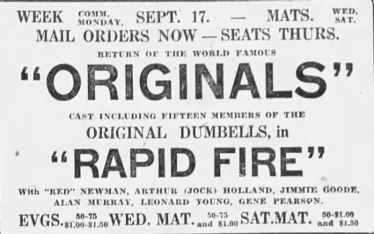 1923-09-08 Originals, Rapid Fire, advert Montreal Gazette, September 8, 1923, 13