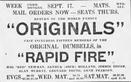 1923-09-08 Originals, Rapid Fire, advert Montreal Gazette, September 8, 1923, 13