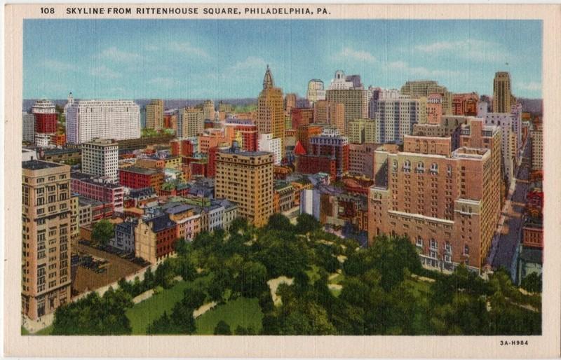 Postcard Rittenhouse Square 1940s.