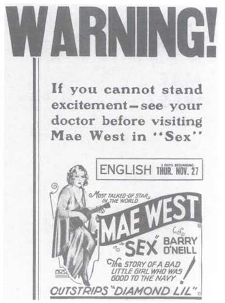 "1927-00-00 West, Mae, SEX ""Warning"" poster.jpg"