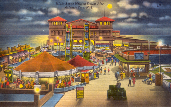 Atlantic City Million Dollar Pier (Postcard, 1950)
