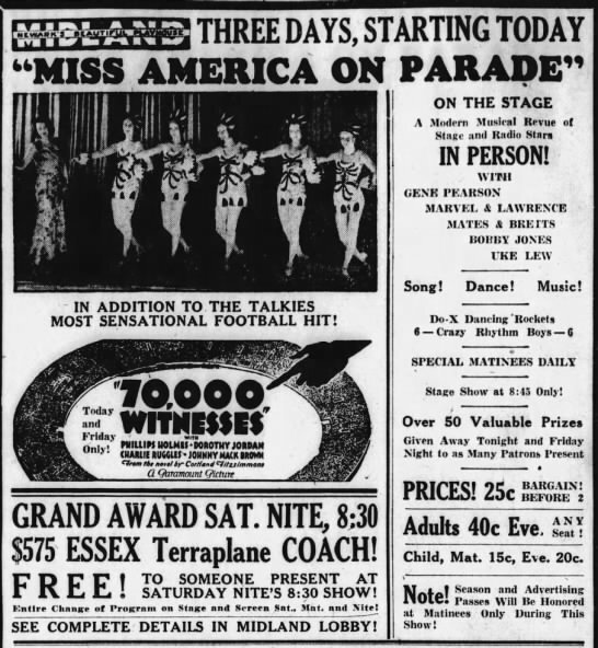 "1932-10-13 Gene Pearson ""Miss 1932-10-13 America"" Newark Advocate and American Tribune (Newark, Ohio), October 13, 1932, 8."