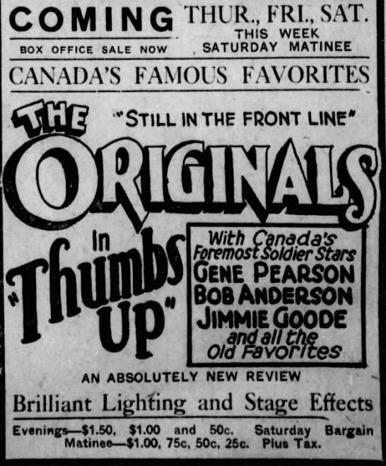 1925-10-06 Originals, Thumbs Up advert Saskatoon Star-Phoenix, October 6, 1925, 9..jpeg