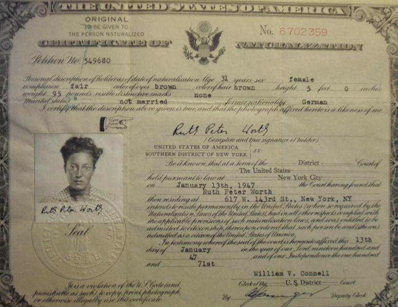 "Worth's U.S. Naturalization Document Using Name ""Ruth Peter Worth"""