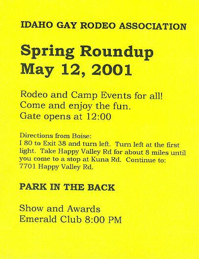 Idaho Gay Rodeo Flyer 2001