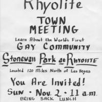 Rhyolite Town Meeting