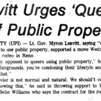Leavitt Urges 'Queers'