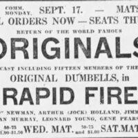 1923-09-08 Originals, Rapid Fire, advert Montreal Gazette, September 8, 1923, 13.jpeg