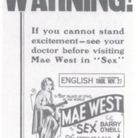 1927-00-00 West, Mae, SEX %22Warning%22 poster.jpg