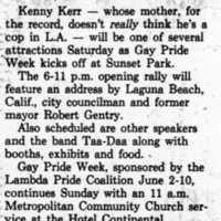 Gay Pride Article, June 1984