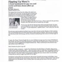Zipping Up Mary's